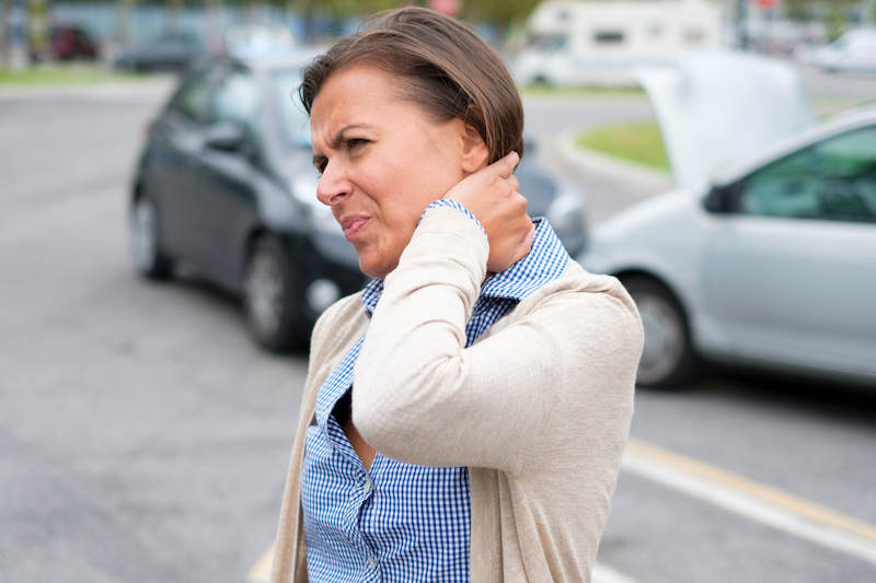 Woman with whiplash